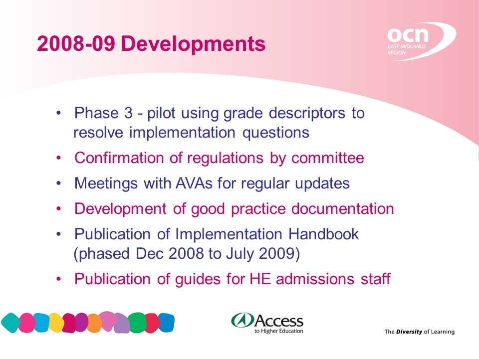 12 2008-09 Developments Phase 3 - pilot using grade descriptors to resolve implementation questions Confirmation of regulations by committee Meetings with AVAs for regular updates Development of good practice documentation Publication of Implementation Handbook (phased Dec 2008 to July 2009) Publication of guides for HE admissions staff