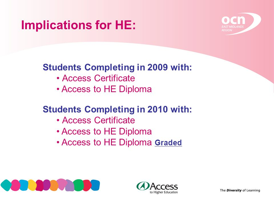 15 Implications for HE: Students Completing in 2009 with: Access Certificate Access to HE Diploma Students Completing in 2010 with: Access Certificate Access to HE Diploma Access to HE Diploma Graded
