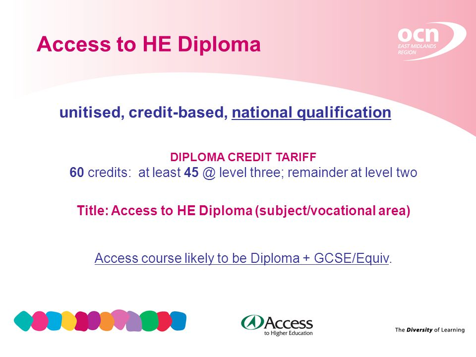 3 Access to HE Diploma unitised, credit-based, national qualification DIPLOMA CREDIT TARIFF 60 credits: at least 45 @ level three; remainder at level two Title: Access to HE Diploma (subject/vocational area) Access course likely to be Diploma + GCSE/Equiv.