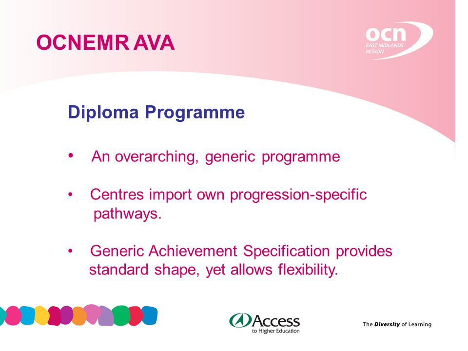 5 OCNEMR AVA Diploma Programme An overarching, generic programme Centres import own progression-specific pathways.