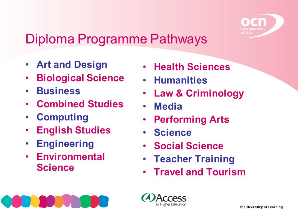6 Diploma Programme Pathways Art and Design Biological Science Business Combined Studies Computing English Studies Engineering Environmental Science Health Sciences Humanities Law & Criminology Media Performing Arts Science Social Science Teacher Training Travel and Tourism