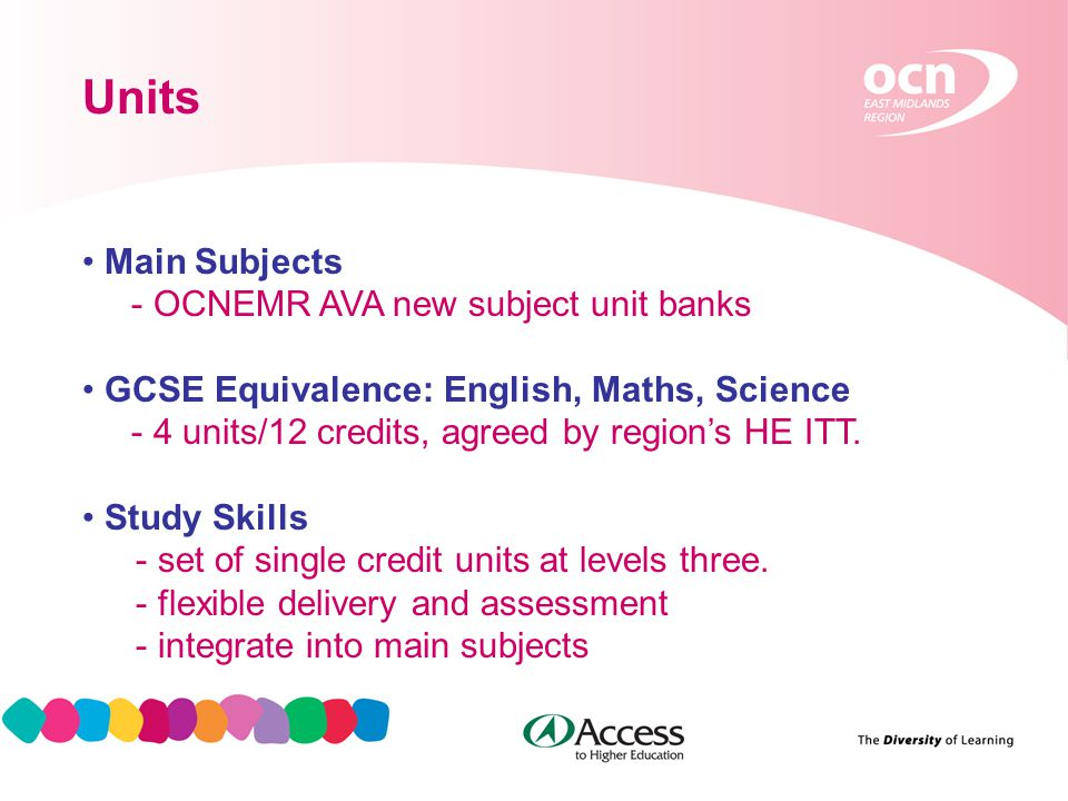 8 Units Main Subjects - OCNEMR AVA new subject unit banks GCSE Equivalence: English, Maths, Science - 4 units/12 credits, agreed by region's HE ITT.