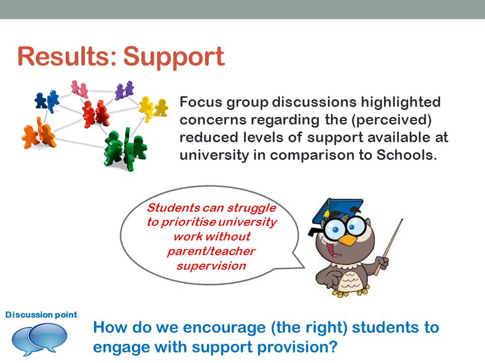 Results: Support Focus group discussions highlighted concerns regarding the (perceived) reduced levels of support available at university in comparison to Schools.