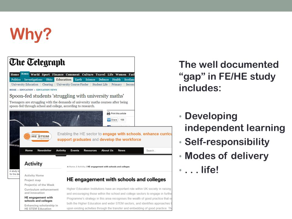 The well documented gap in FE/HE study includes: Developing independent learning Self-responsibility Modes of delivery...