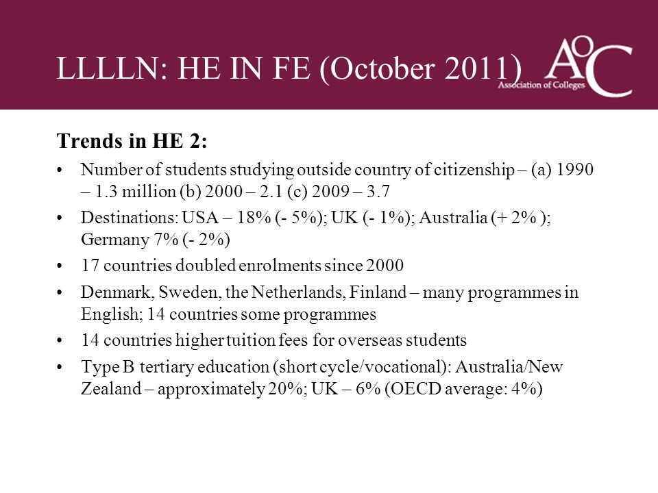 Title of the slide Second line of the slide LLLLN: HE IN FE (October 2011 ) Trends in HE 2: Number of students studying outside country of citizenship