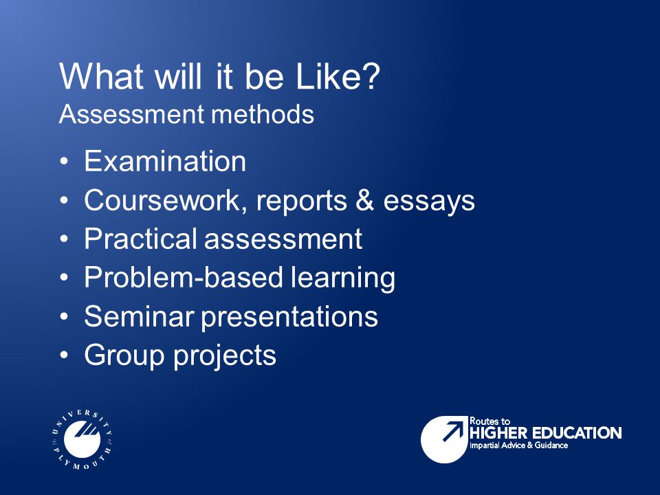 What will it be Like? Assessment methods Examination Coursework, reports & essays Practical assessment Problem-based learning Seminar presentations Gr