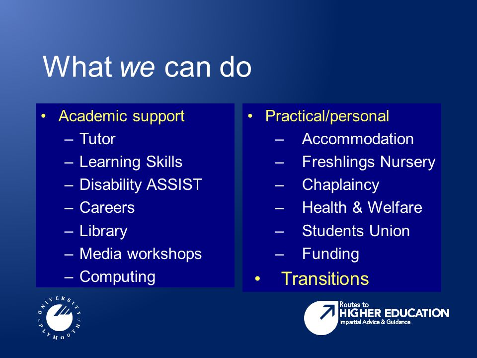 What we can do Academic support –Tutor –Learning Skills –Disability ASSIST –Careers –Library –Media workshops –Computing Practical/personal –Accommoda