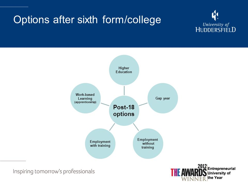 Options after sixth form/college Post-18 options Higher Education Gap year Employment without training Employment with training Work-based Learning (apprenticeship)