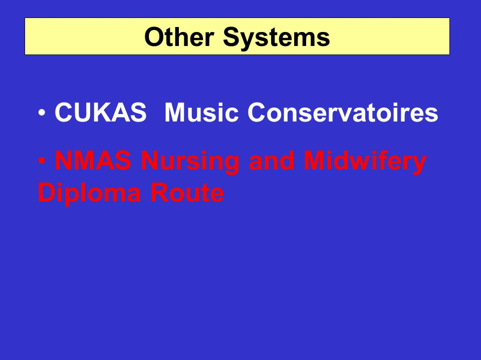 Other Systems CUKAS Music Conservatoires NMAS Nursing and Midwifery Diploma Route