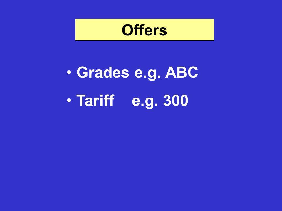 Offers Grades e.g. ABC Tariff e.g. 300