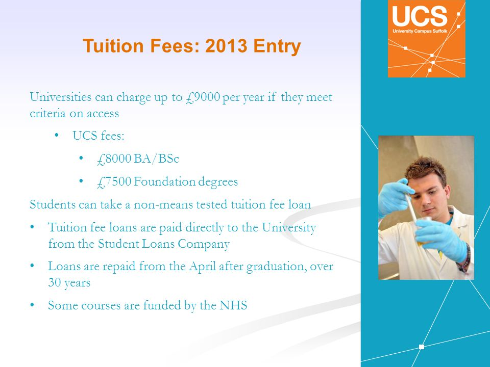 Tuition Fees: 2013 Entry Universities can charge up to £9000 per year if they meet criteria on access UCS fees: £8000 BA/BSc £7500 Foundation degrees Students can take a non-means tested tuition fee loan Tuition fee loans are paid directly to the University from the Student Loans Company Loans are repaid from the April after graduation, over 30 years Some courses are funded by the NHS