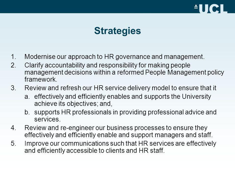 Strategies 1.Modernise our approach to HR governance and management.