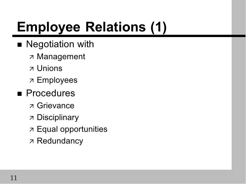 11 Employee Relations (1) n Negotiation with ä Management ä Unions ä Employees n Procedures ä Grievance ä Disciplinary ä Equal opportunities ä Redundancy