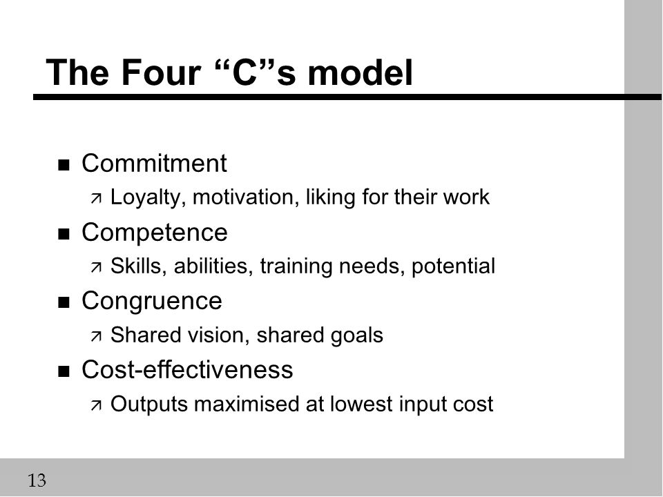 """13 The Four """"C""""s model n Commitment ä Loyalty, motivation, liking for their work n Competence ä Skills, abilities, training needs, potential n Congrue"""