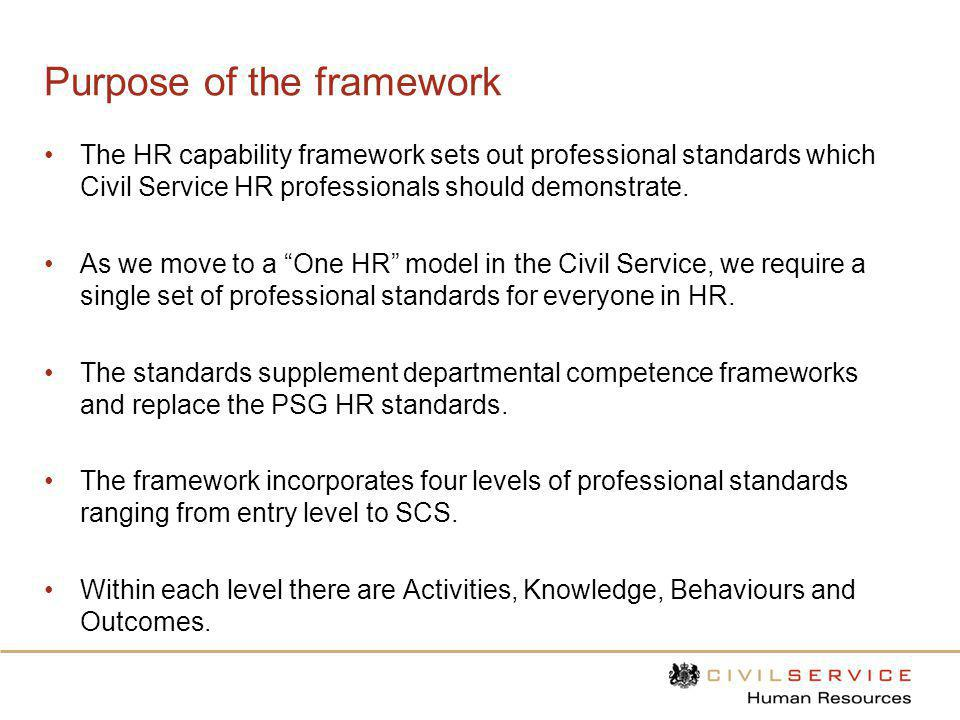 Purpose of the framework The HR capability framework sets out professional standards which Civil Service HR professionals should demonstrate. As we mo