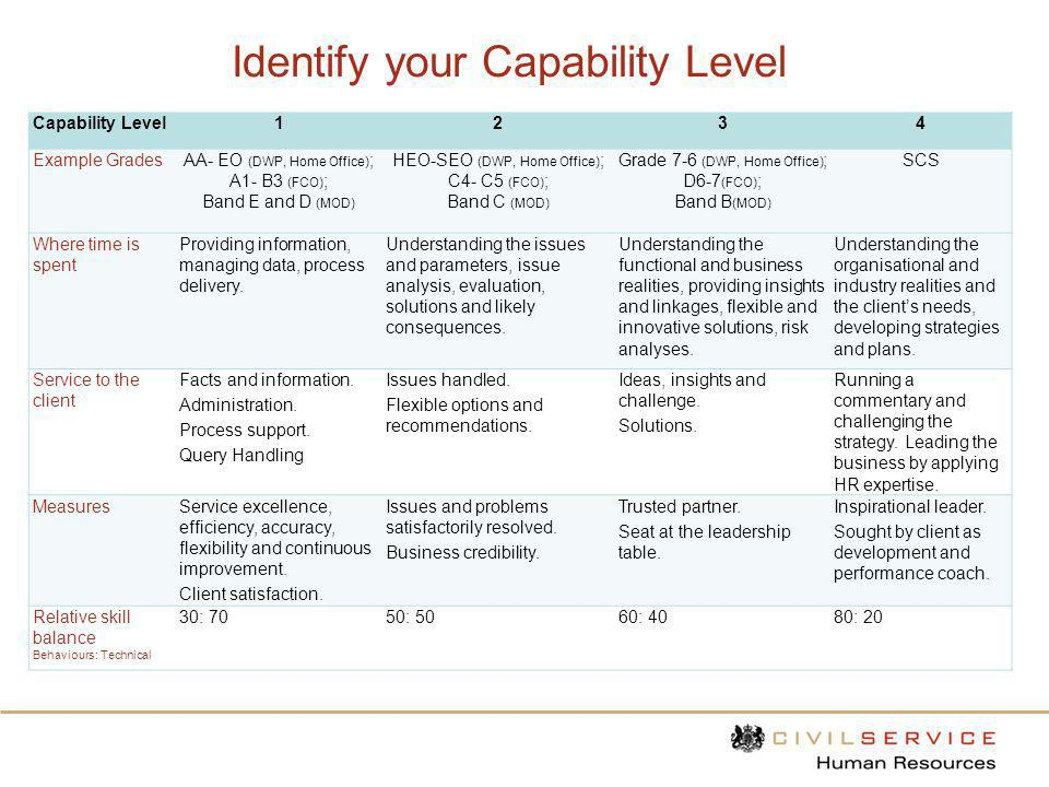 Identify your Capability Level Capability Level1234 Example GradesAA- EO (DWP, Home Office) ; A1- B3 (FCO) ; Band E and D (MOD) HEO-SEO (DWP, Home Off