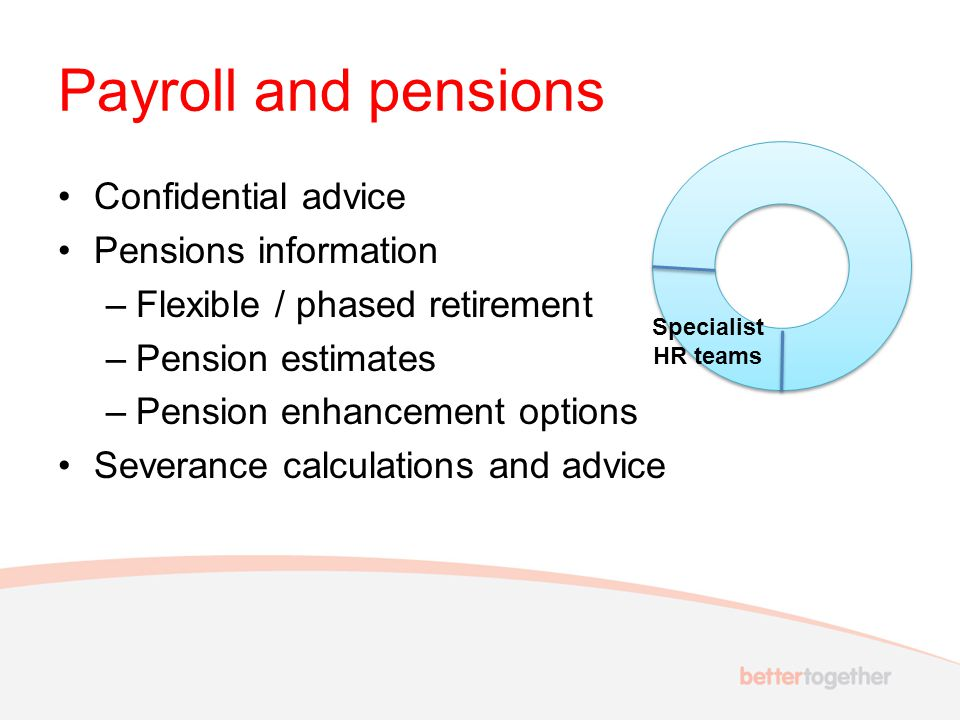 Payroll and pensions Confidential advice Pensions information –Flexible / phased retirement –Pension estimates –Pension enhancement options Severance calculations and advice Specialist HR teams