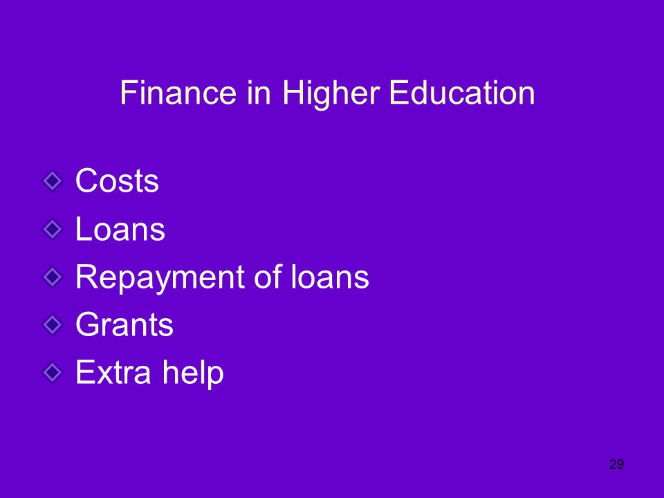 Finance in Higher Education Costs Loans Repayment of loans Grants Extra help 29