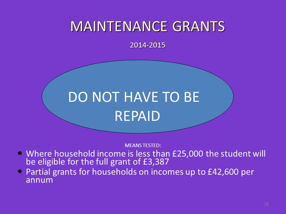 MEANS TESTED: Where household income is less than £25,000 the student will be eligible for the full grant of £3,387 Partial grants for households on incomes up to £42,600 per annum 38 DO NOT HAVE TO BE REPAID MAINTENANCE GRANTS 2014-2015