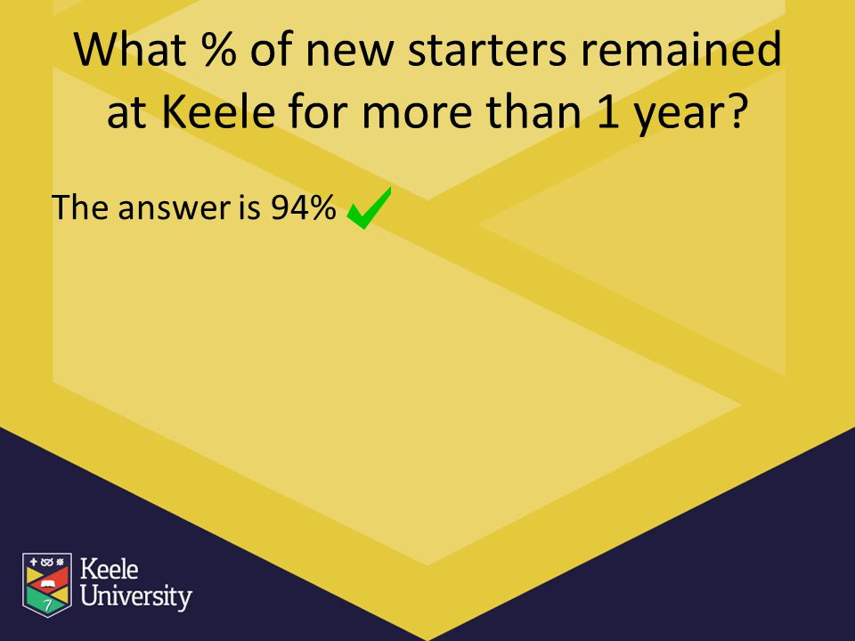 What % of new starters remained at Keele for more than 1 year? The answer is 94%