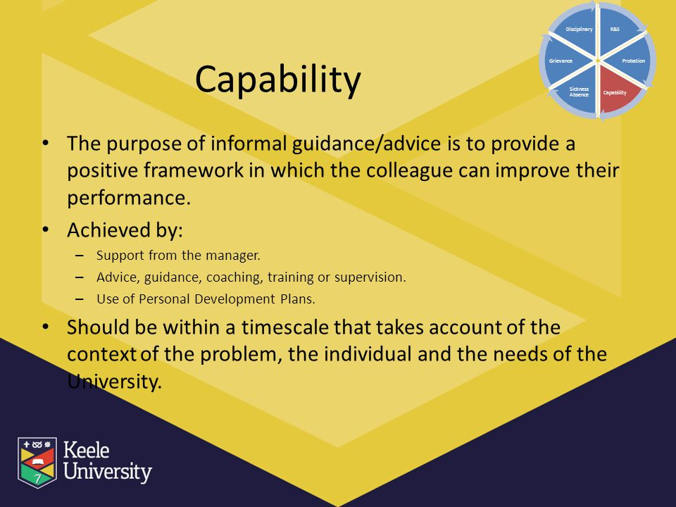 Capability The purpose of informal guidance/advice is to provide a positive framework in which the colleague can improve their performance. Achieved b