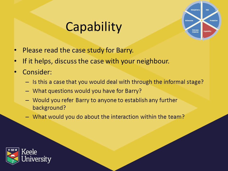 Capability Please read the case study for Barry. If it helps, discuss the case with your neighbour. Consider: – Is this a case that you would deal wit