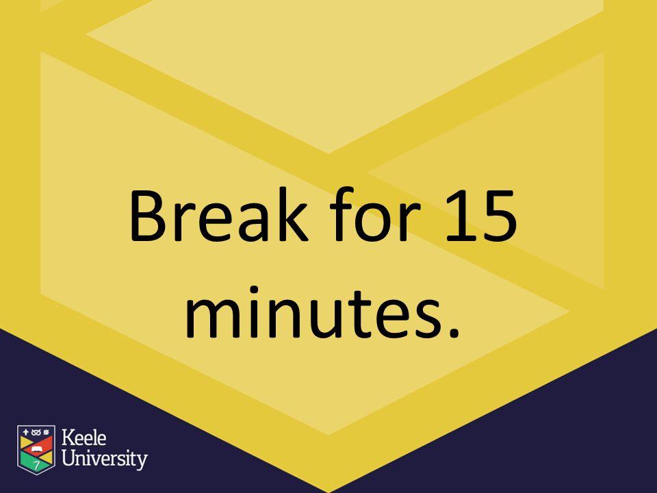 Break for 15 minutes.