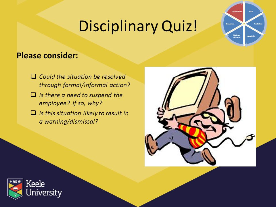 Disciplinary Quiz! Please consider:  Could the situation be resolved through formal/informal action?  Is there a need to suspend the employee? If so