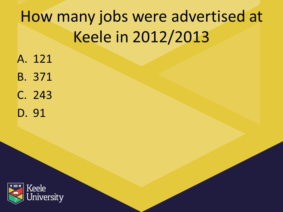 How many jobs were advertised at Keele in 2012/2013 A.121 B.371 C.243 D.91