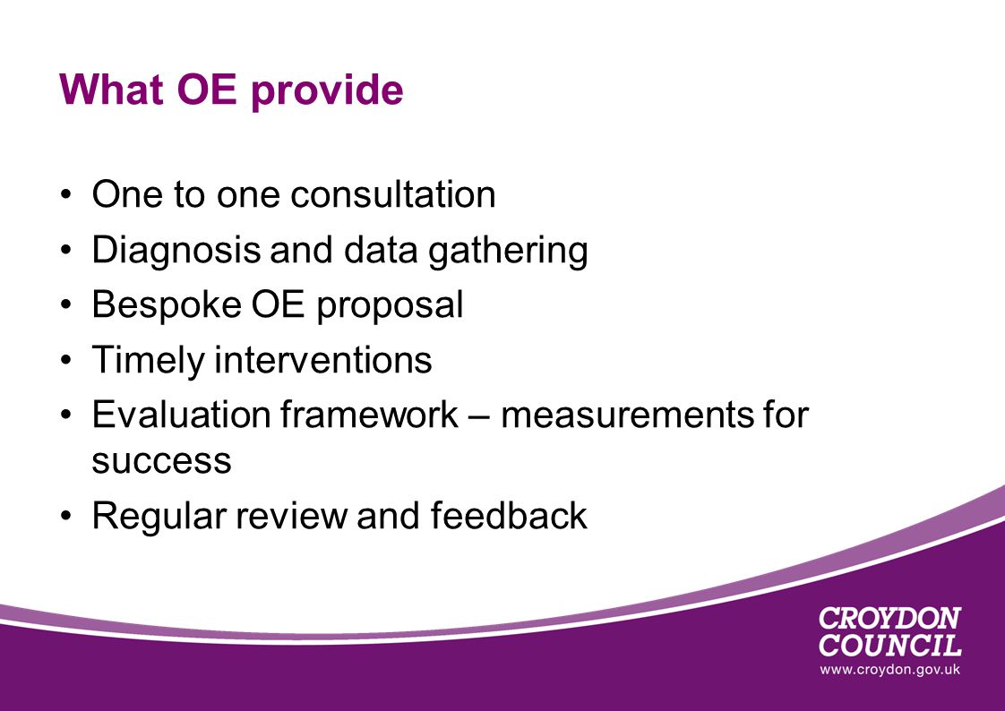 What OE provide One to one consultation Diagnosis and data gathering Bespoke OE proposal Timely interventions Evaluation framework – measurements for success Regular review and feedback