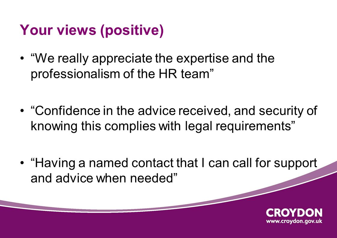 """Your views (positive) """"We really appreciate the expertise and the professionalism of the HR team"""" """"Confidence in the advice received, and security of"""