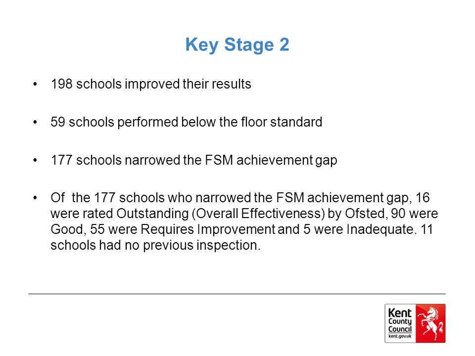 Key Stage 2 198 schools improved their results 59 schools performed below the floor standard 177 schools narrowed the FSM achievement gap Of the 177 s