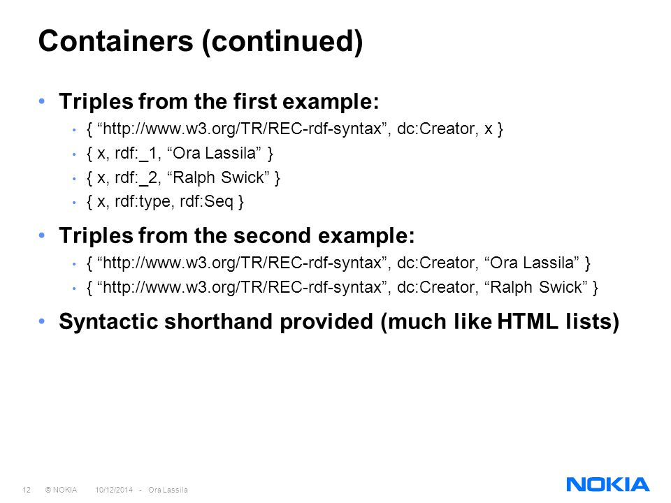 "12 © NOKIA 10/12/2014 - Ora Lassila Containers (continued) Triples from the first example: { ""http://www.w3.org/TR/REC-rdf-syntax"", dc:Creator, x } {"