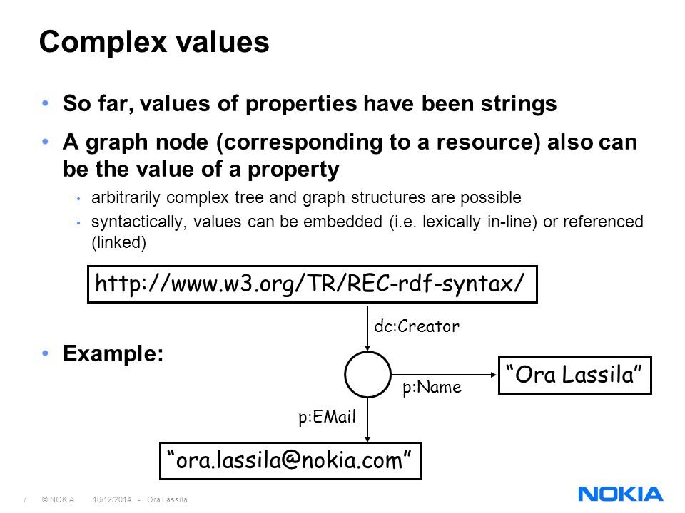 7 © NOKIA 10/12/2014 - Ora Lassila Complex values So far, values of properties have been strings A graph node (corresponding to a resource) also can be the value of a property arbitrarily complex tree and graph structures are possible syntactically, values can be embedded (i.e.