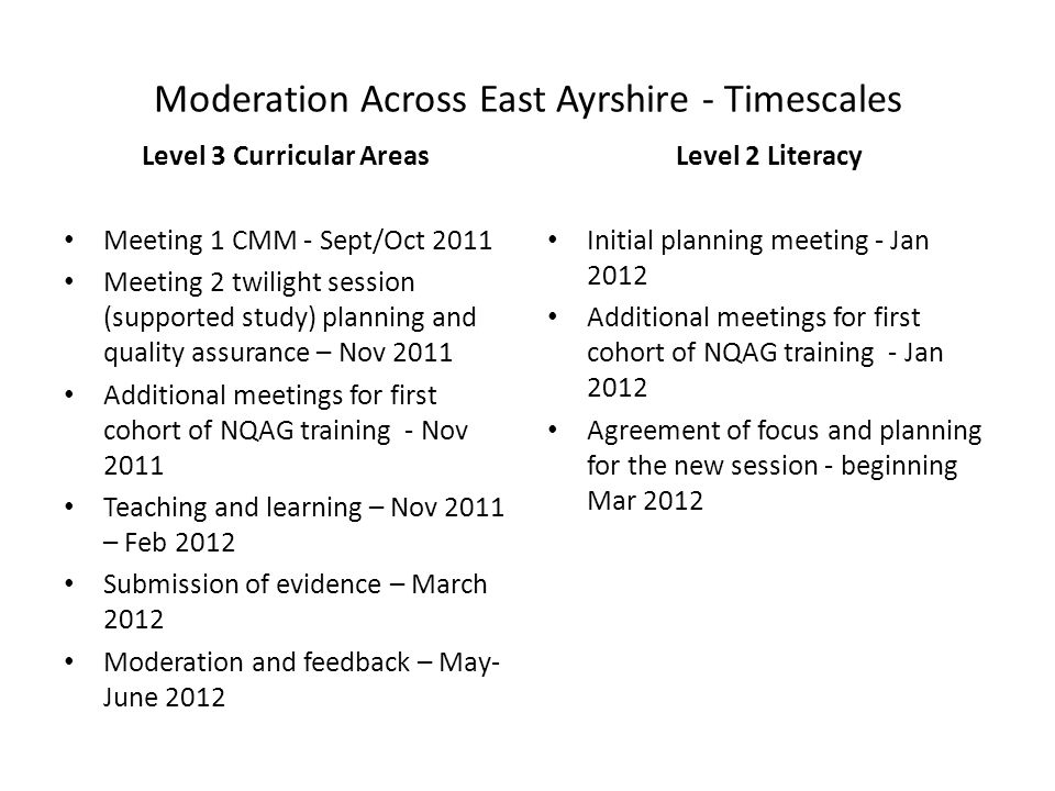 Moderation Across East Ayrshire - Timescales Level 3 Curricular Areas Meeting 1 CMM - Sept/Oct 2011 Meeting 2 twilight session (supported study) planning and quality assurance – Nov 2011 Additional meetings for first cohort of NQAG training - Nov 2011 Teaching and learning – Nov 2011 – Feb 2012 Submission of evidence – March 2012 Moderation and feedback – May- June 2012 Level 2 Literacy Initial planning meeting - Jan 2012 Additional meetings for first cohort of NQAG training - Jan 2012 Agreement of focus and planning for the new session - beginning Mar 2012