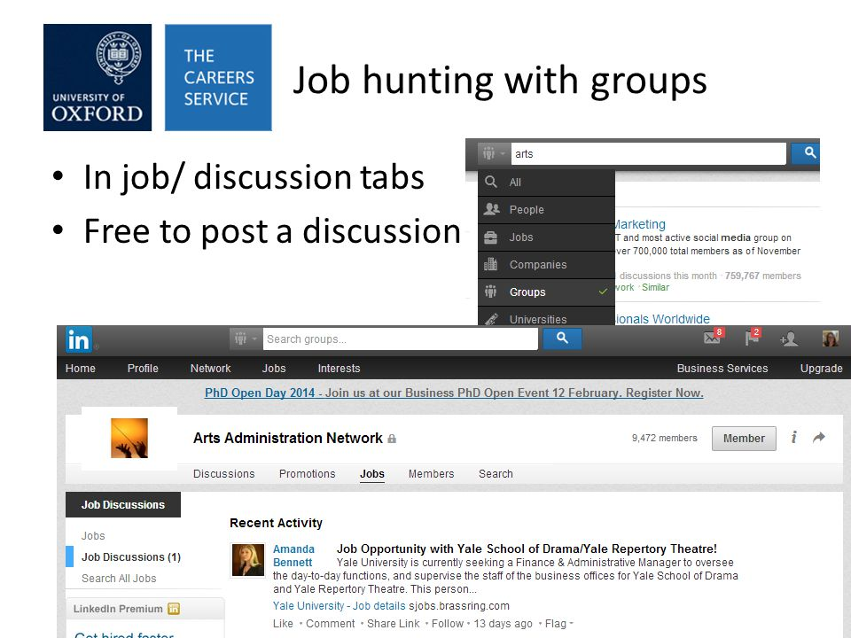 Job hunting with groups In job/ discussion tabs Free to post a discussion