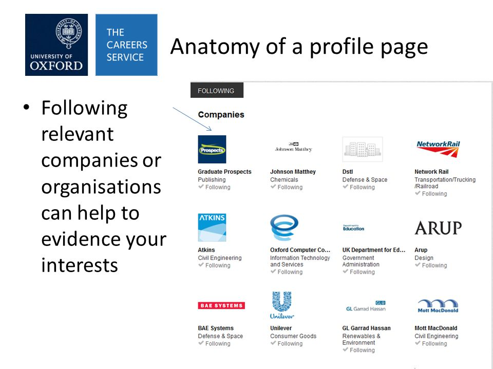 Anatomy of a profile page Following relevant companies or organisations can help to evidence your interests