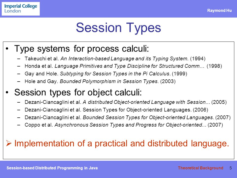 Session-based Distributed Programming in Java Raymond Hu Basic Message Passing 46 The SJ Session Runtime