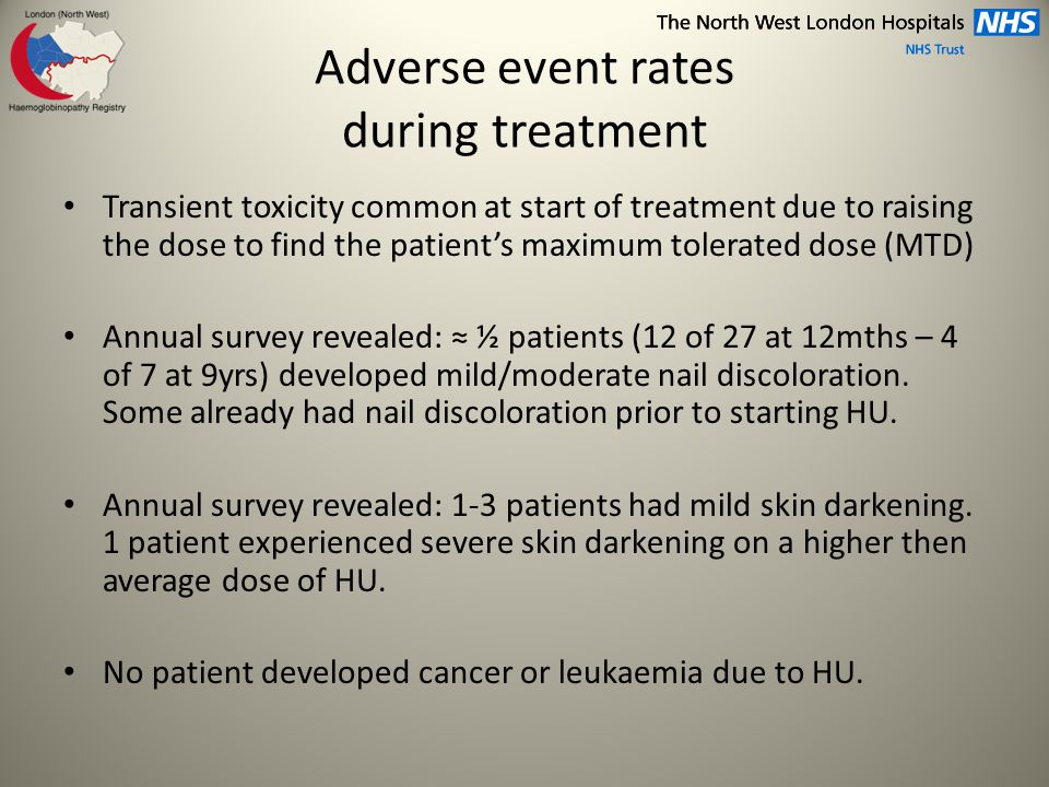Adverse event rates during treatment Transient toxicity common at start of treatment due to raising the dose to find the patient's maximum tolerated dose (MTD) Annual survey revealed: ≈ ½ patients (12 of 27 at 12mths – 4 of 7 at 9yrs) developed mild/moderate nail discoloration.