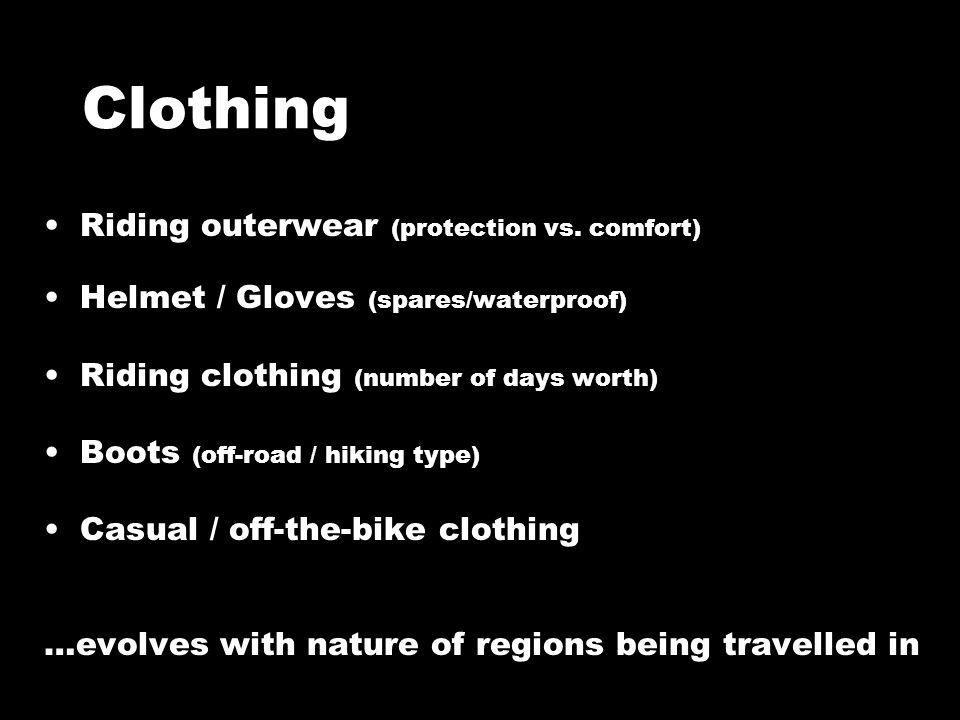 Clothing Riding outerwear (protection vs.