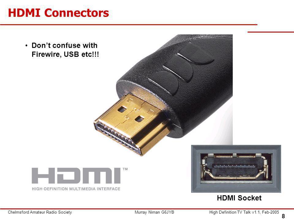 8 Chelmsford Amateur Radio SocietyMurray Niman G6JYBHigh Definition TV Talk v1.1, Feb-2005 HDMI Connectors Don't confuse with Firewire, USB etc!!! HDM