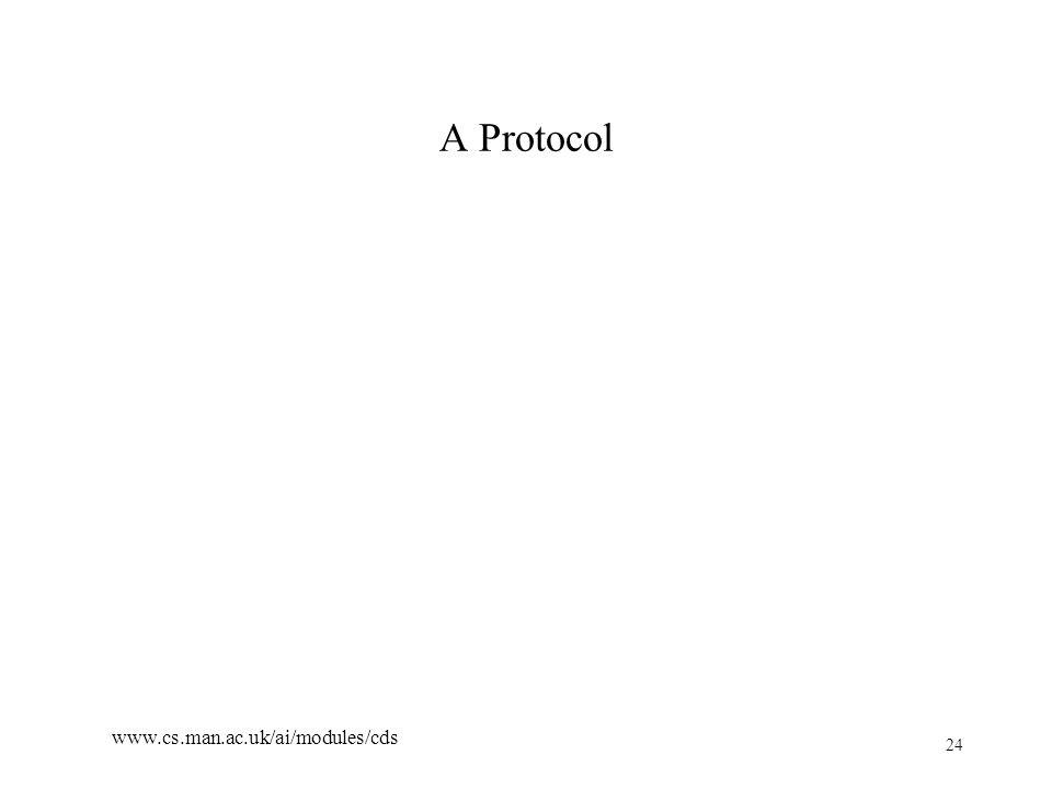 24 www.cs.man.ac.uk/ai/modules/cds A Protocol