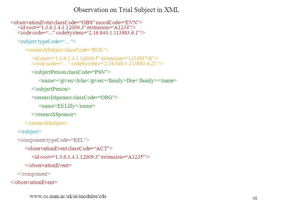 48 www.cs.man.ac.uk/ai/modules/cds Observation on Trial Subject in XML John Doe Eli Lilly