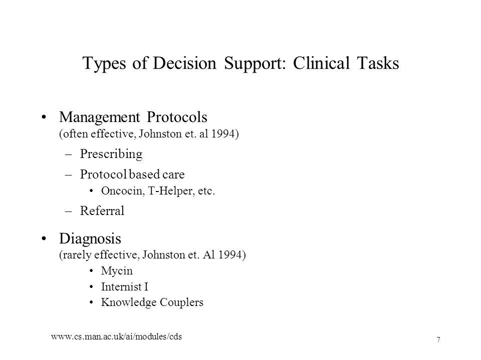 7 www.cs.man.ac.uk/ai/modules/cds Types of Decision Support: Clinical Tasks Management Protocols (often effective, Johnston et.