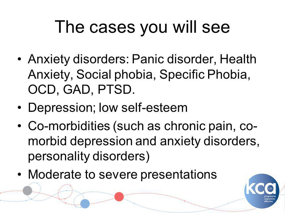 The cases you will see Anxiety disorders: Panic disorder, Health Anxiety, Social phobia, Specific Phobia, OCD, GAD, PTSD.