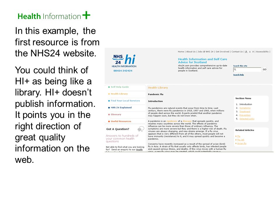 In this example, the first resource is from the NHS24 website.