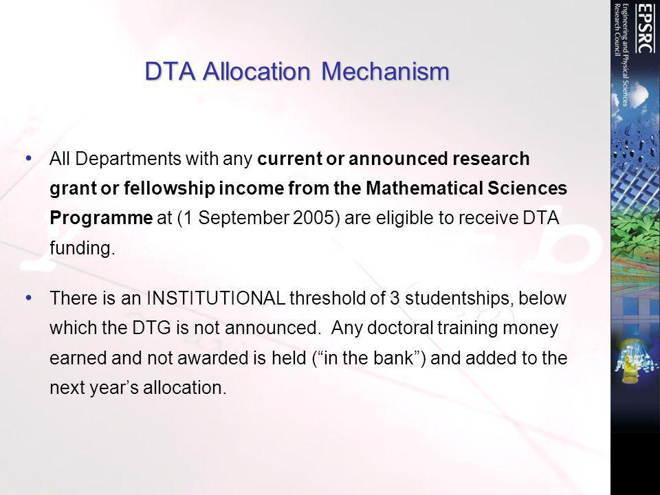 DTA Allocation Mechanism All Departments with any current or announced research grant or fellowship income from the Mathematical Sciences Programme at (1 September 2005) are eligible to receive DTA funding.