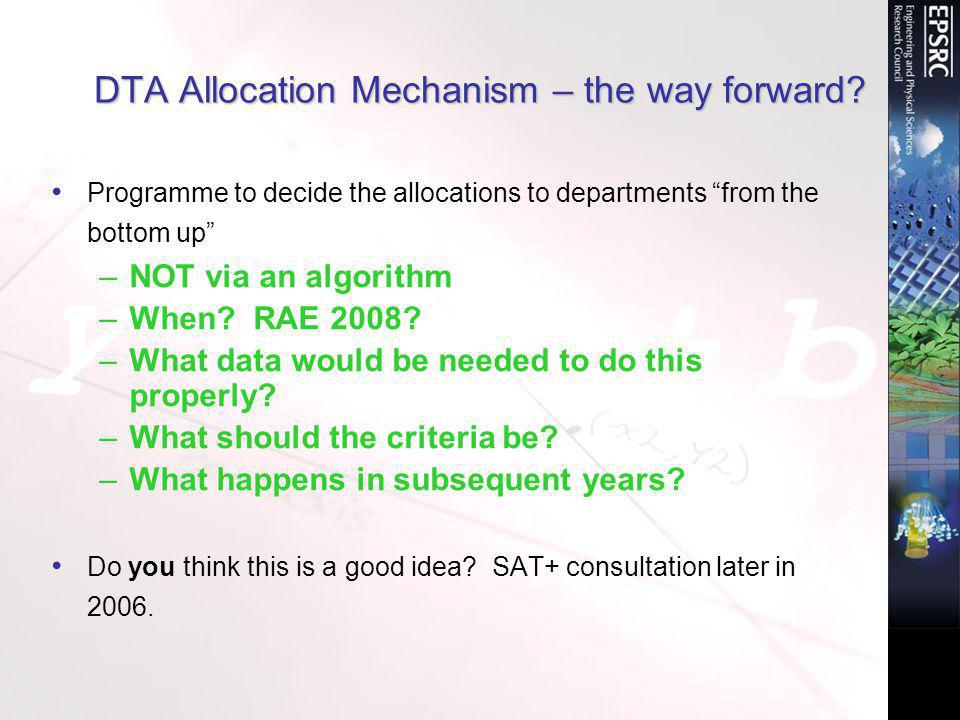 DTA Allocation Mechanism – the way forward.