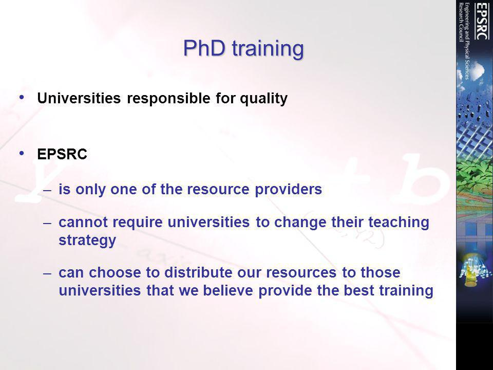 PhD training Universities responsible for quality EPSRC –is only one of the resource providers –cannot require universities to change their teaching strategy –can choose to distribute our resources to those universities that we believe provide the best training