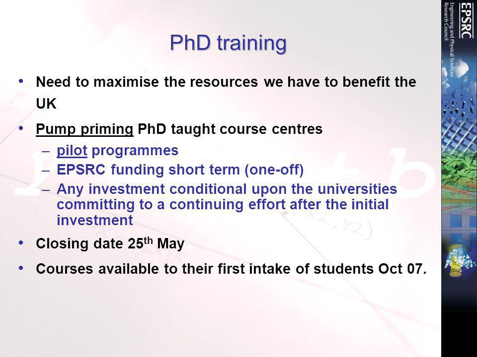 PhD taught course centres Aim –Add breadth and/or depth –Raise the international academic profile of the UK PhD –Add value to existing provision As a result PhD students should be –Broadly trained, competitive in international market –Making mature/informed decisions about future research